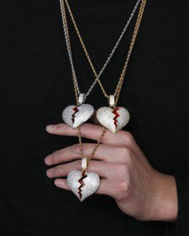 Pendentif Cœur Brisé Zircon Cubique