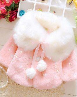 Manteau Fourrure Avec Perles Pour Fille