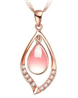 Collier Pierre Rose en Goutte D'eau