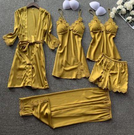 Pyjama Femme En Satin (5pcs)