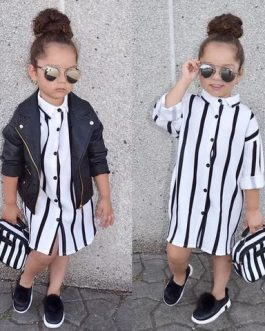 Robe chemise A Rayures Pour Fille