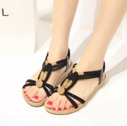 Sandales Plates Ornées Pour Femmes