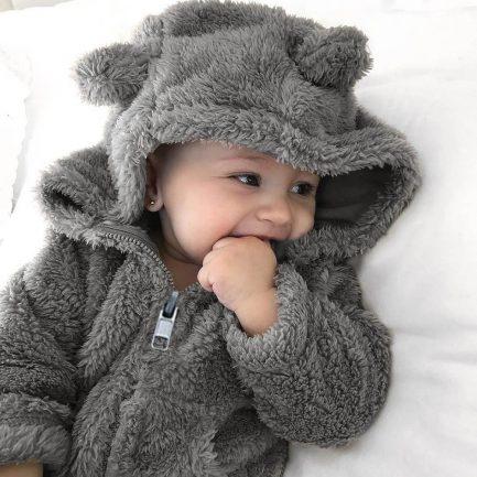 Veste En Fourrure A Capuche Pour Bébé