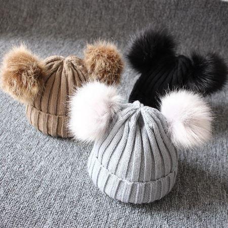 Bonnet Tricoté Double Pompon