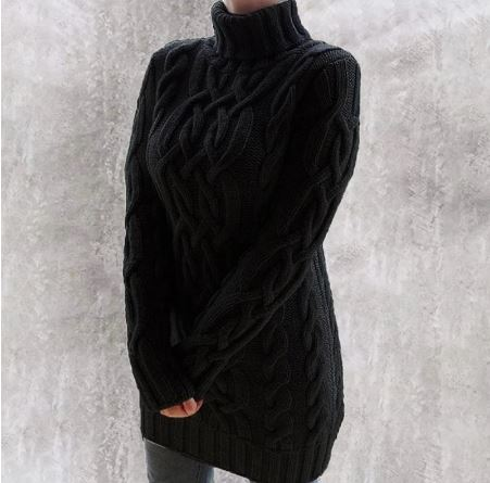 Robe Pull Col Roulé En Maille